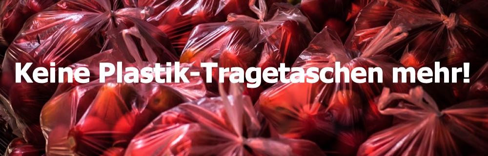 Hinweis auf den Verzicht von Plastik-Tragetaschen im Geschäft