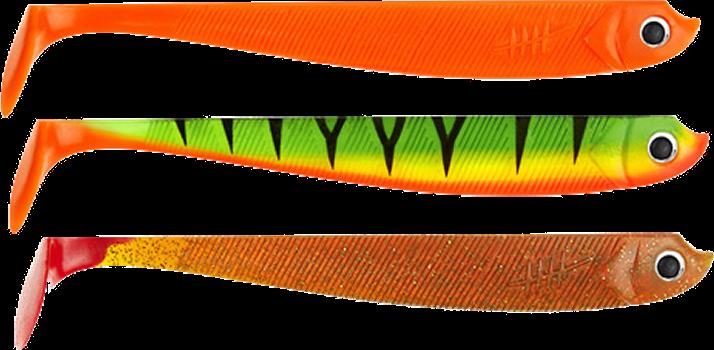 Drei verschiedenfarbige Lieblingsköder Gummifische